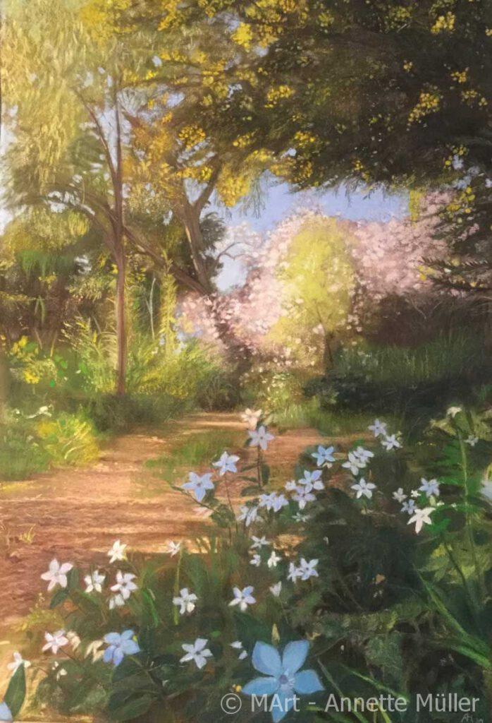Pastellbild Domaine du Rayol - Garten in Rayol-Canadel-sur-Mer