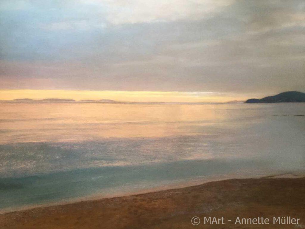 Pastellbild January sunset in La-Croix-Valmer – Sonnenuntergang im Januar in La-Croix-Valmer