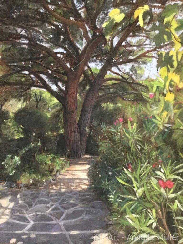 Pastellbild Majestic pine tree in our garden – Majestätische Pinie in unserem Garten