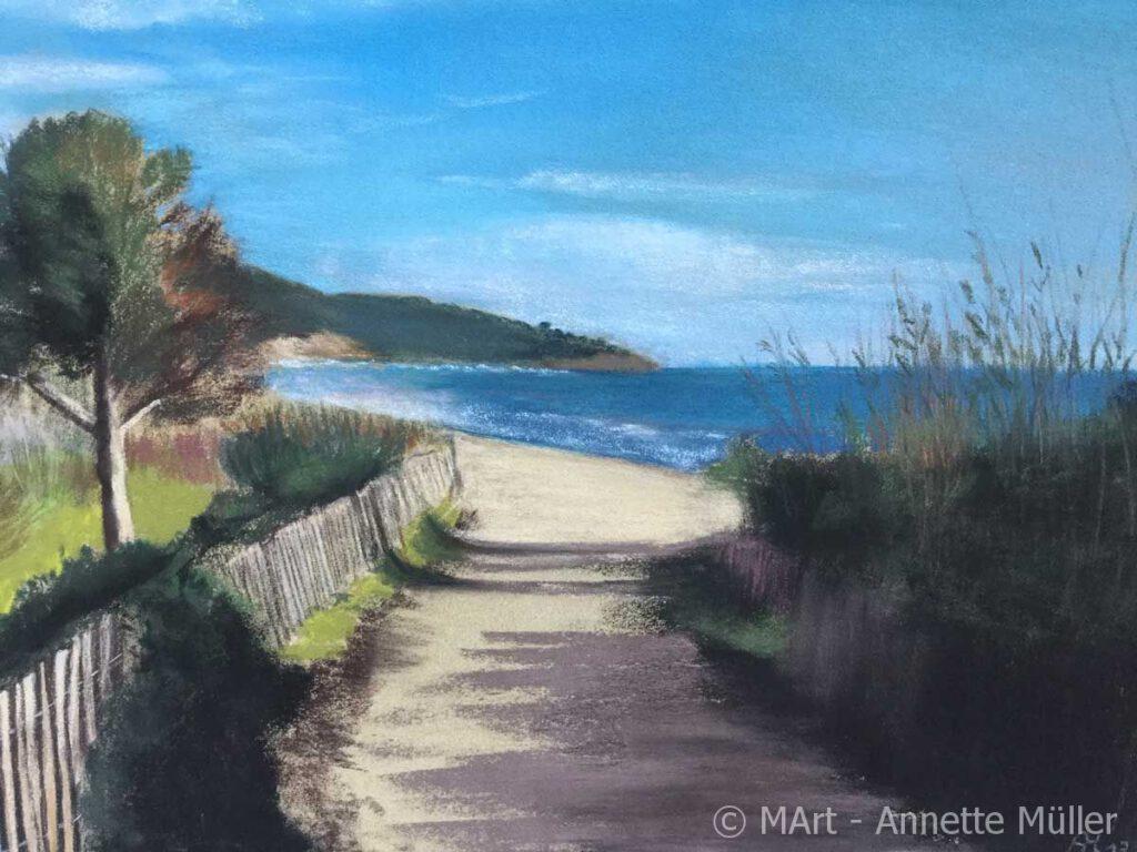 Pastellbild Way to beacht - Weg zum Strand