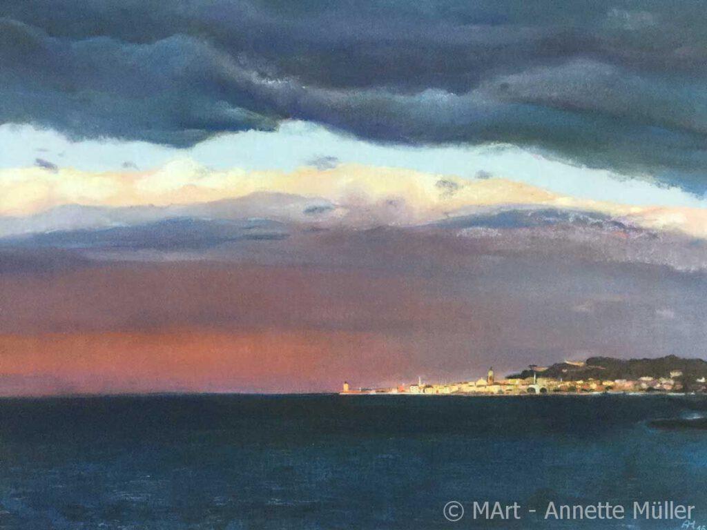 Pastellbild Saint Tropez thunderstorm - Gewitter über Saint Tropez