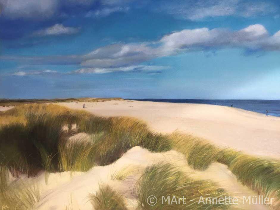 Pastellbild Silent beach on Sylt - Winterruhe am Strand auf Sylt