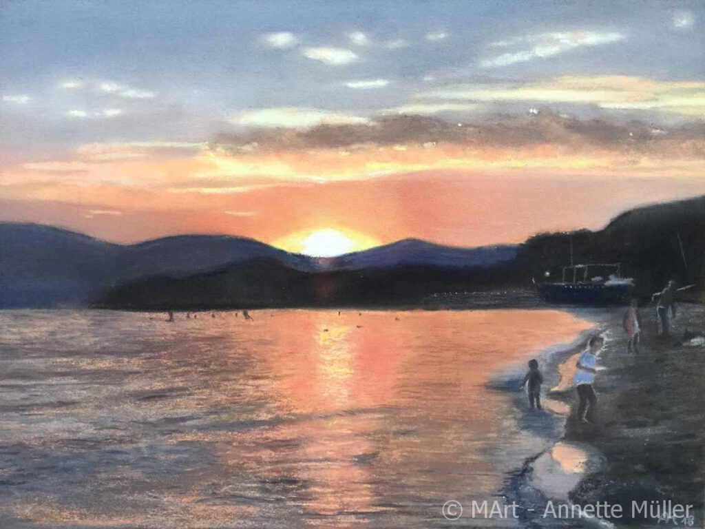 Pastellbild Summer evening in La Croix Valmer- Sommerabend in La Croix Valmer
