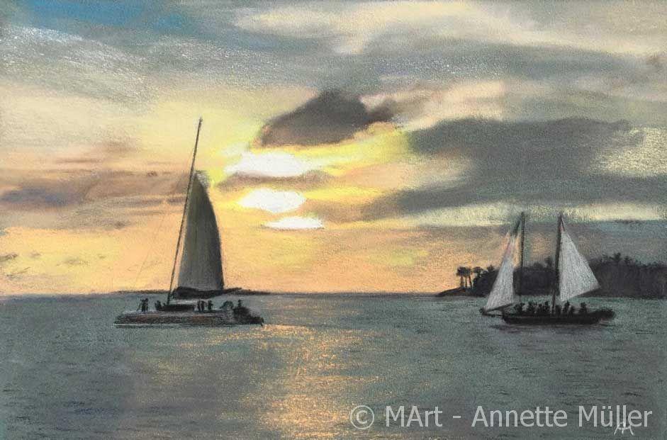 Pastellbild Sunset in Key West - Sonnenuntergang in Key West