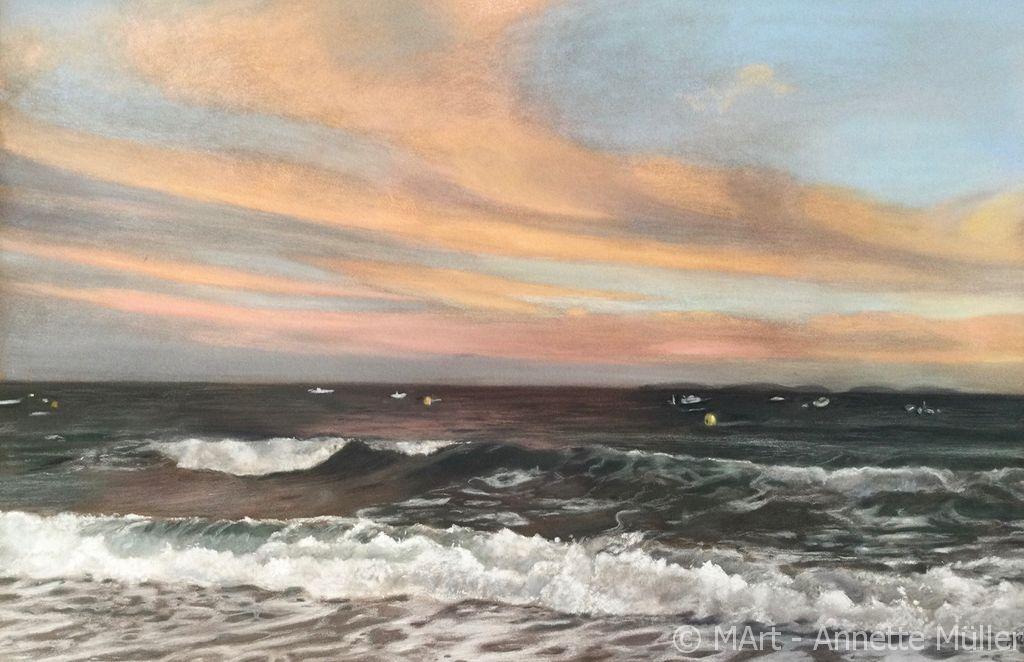 Pastellbild Sonnenuntergang am Meer